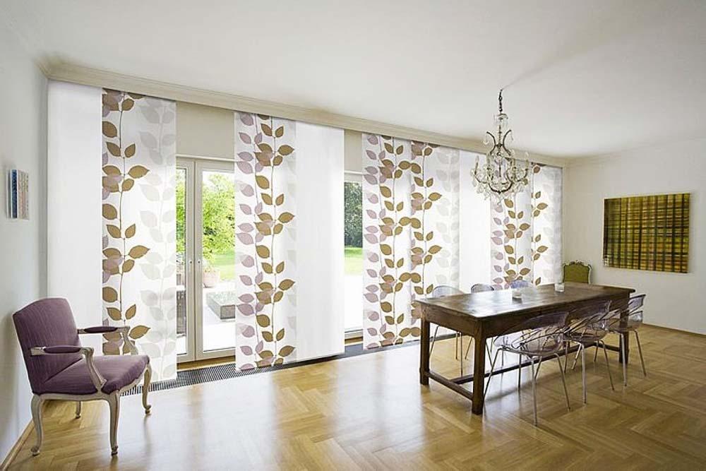 Японские шторы в интерьере гостиной фото